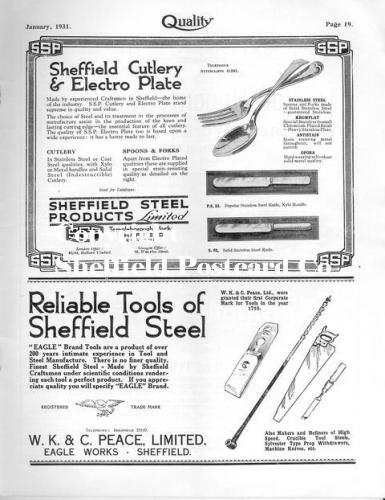 SPC565: sheffield steel (cutlery adverts from Quality magazine 1931
