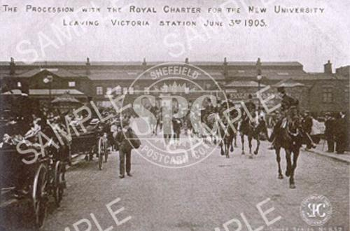 spc00134: The procession with the Royal Charter for the new University, Sheffield 1905
