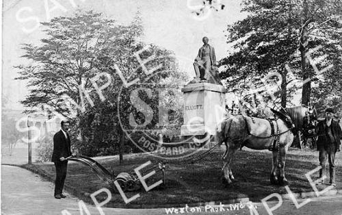 spc00213: Weston Park horse pulling lawnmower, Sheffield.