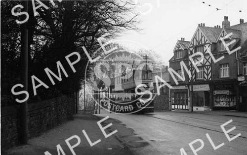 spc00232: Tram at Eccelesall Road Church, Sheffield.