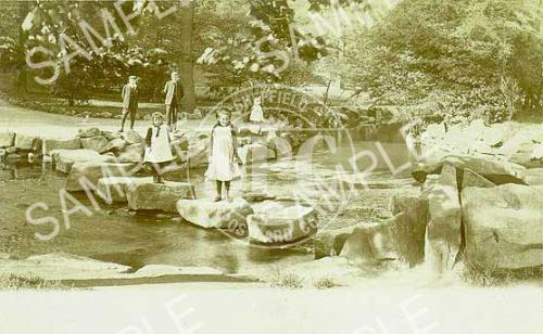 spc00253: The stepping stones at Endcliffe Park, Sheffield, c 1904 (NS14)