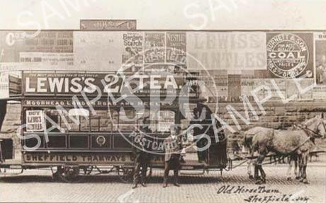 spc00265: Old horse tram at Heeley terminus, Sheffield c1886 (NT3)