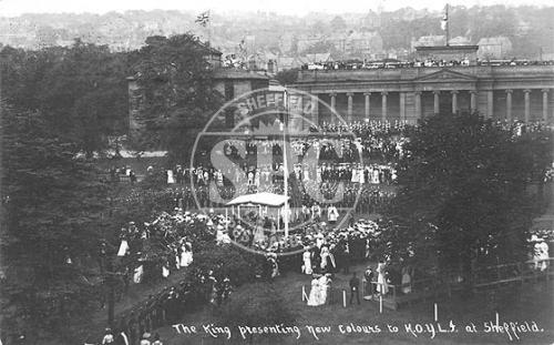 spc00288: Weston Park, Sheffield K.O.Y.L.I. Presentation 1905