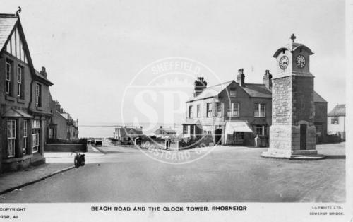 spc00355: Beach Road and the Clock Tower, Rhosneigr
