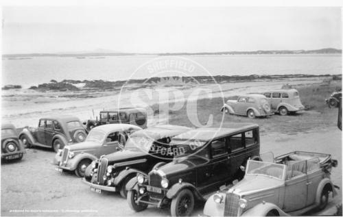 spc00391: Beach Terrace with old cars parked up, Rhosneigr.
