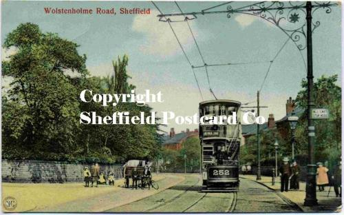 spc531: Wostenholm Rd Sheffield (tram 252, colour pc)