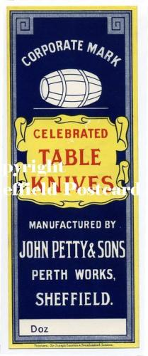 spc582: John Petty Table Knives label