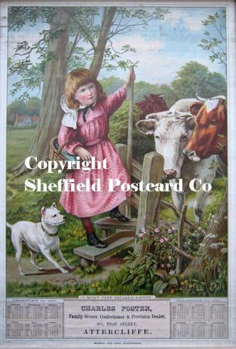 spc632: Attercliffe - Charles Foster, Grocer, 1890, (girl with dog)