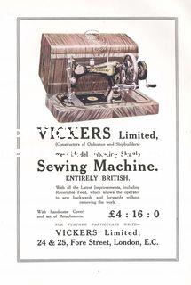 Vickers Limited sewing machine (Sheffield & London) (ISR1919p184v)